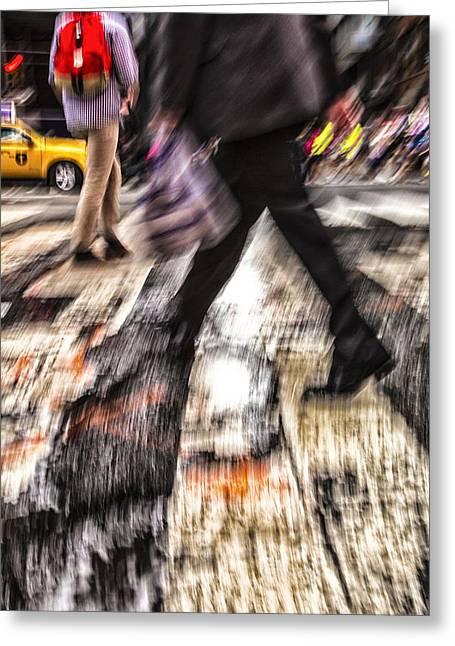 Crosswalk Greeting Cards - Fast Traveler Greeting Card by Karol  Livote