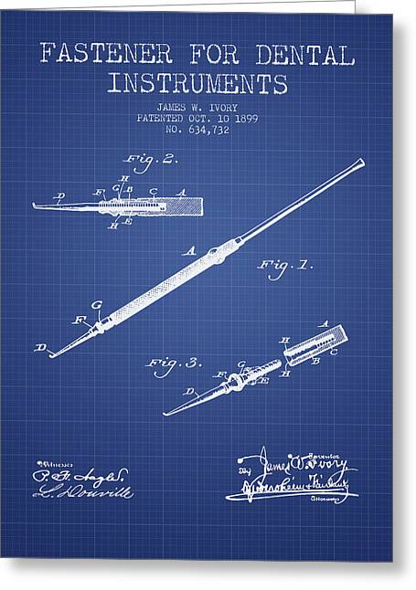 Pliers Greeting Cards - Fastener for dental instruments Patent from 1899 -  Blueprint Greeting Card by Aged Pixel