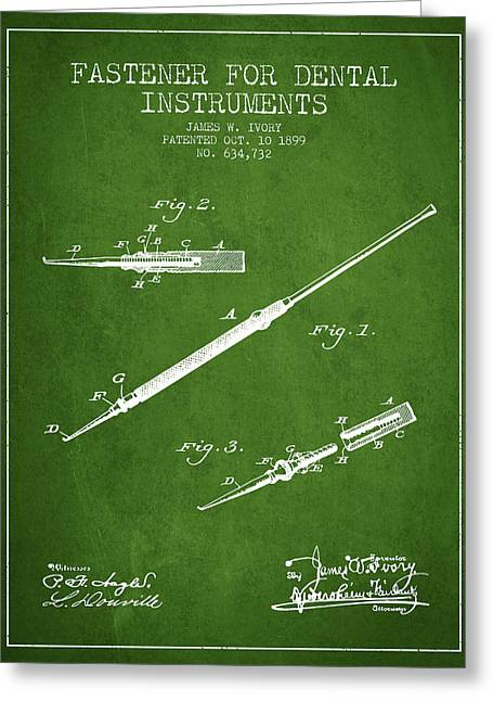Pliers Greeting Cards - Fastener for dental instruments Patent from 1899 - Green Greeting Card by Aged Pixel
