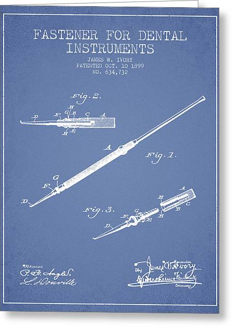 Dental Greeting Cards - Fastener for dental instruments Patent from 1899 - Light Blue Greeting Card by Aged Pixel