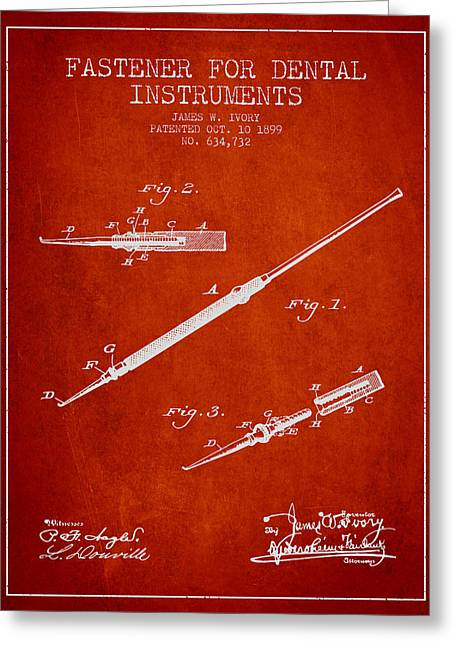 Pliers Greeting Cards - Fastener for dental instruments Patent from 1899 - Red Greeting Card by Aged Pixel
