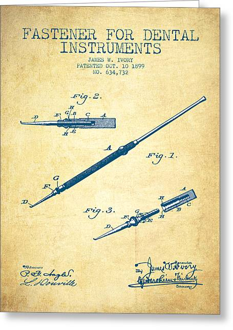 Pliers Greeting Cards - Fastener for dental instruments Patent from 1899 - Vintage Paper Greeting Card by Aged Pixel