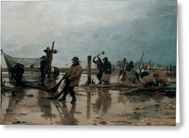 Laborers Greeting Cards - Fastening the Nets Greeting Card by Edouard Joseph  Dantan