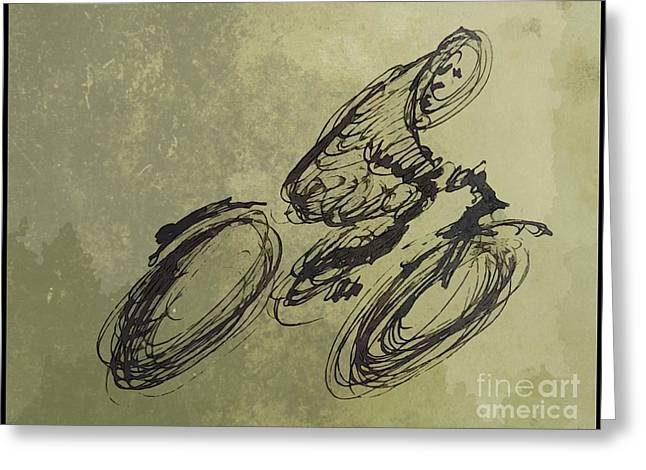 Pencil On Canvas Greeting Cards - Faster Faster Greeting Card by John Malone