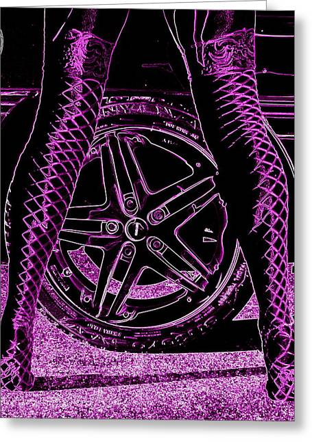 Purple V8 Greeting Cards - Faster in fishnets Greeting Card by Guy Pettingell
