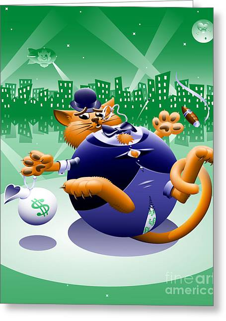 Fat Cat Greeting Card by Taro Istok