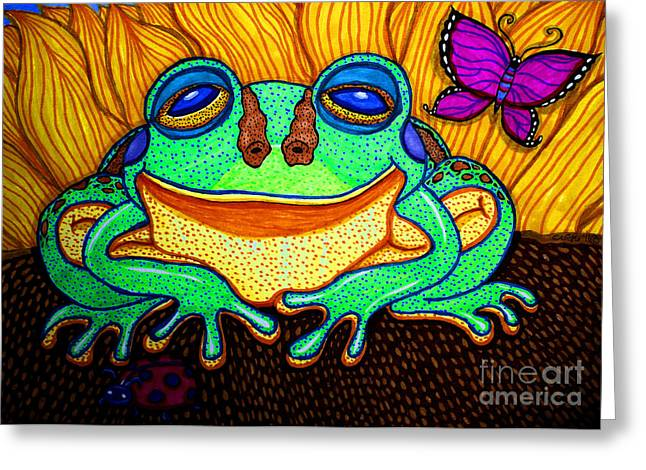 Frogs Greeting Cards - Fat Green Frog on a Sunflower Greeting Card by Nick Gustafson