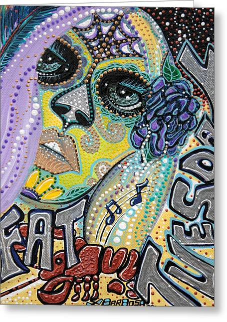 Mardi Gras Paintings Greeting Cards - Fat Tuesday Greeting Card by Laura Barbosa