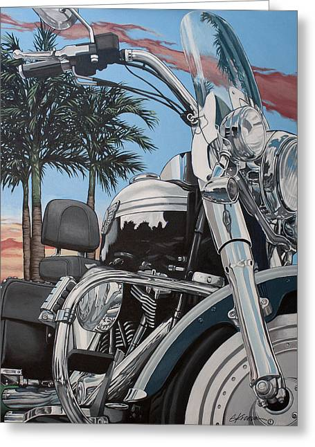 Harley Davidson Greeting Cards - Fatboy Sunset Greeting Card by Gary Kroman