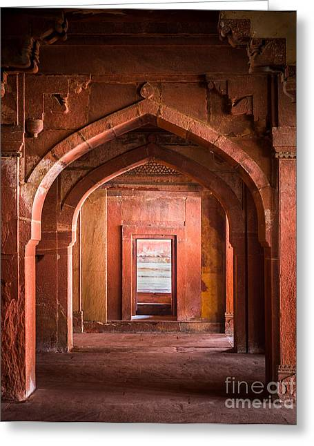 Native Architecture Greeting Cards - Fatehpur Sikri Entrance Greeting Card by Inge Johnsson