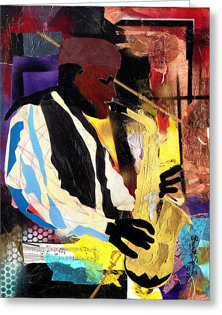 African-american Mixed Media Greeting Cards - Fathead Newman 2006 Greeting Card by Everett Spruill