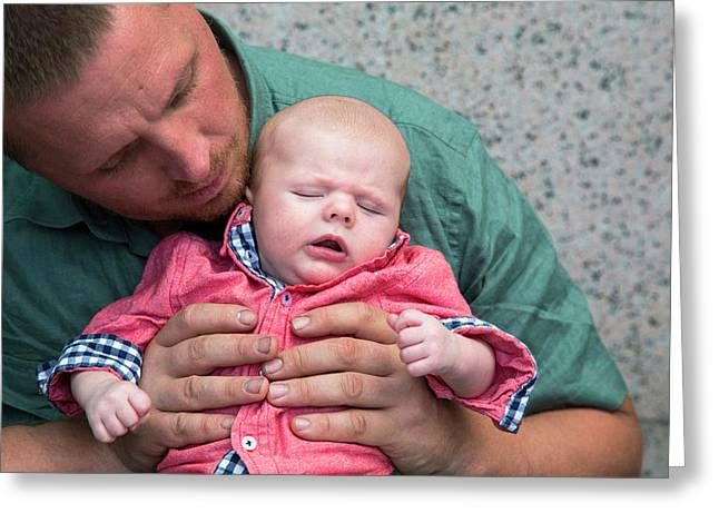 Father And Baby Son Greeting Card by Jim West