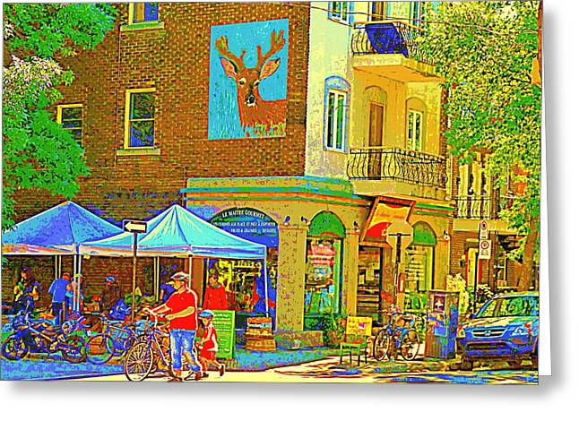 Head Stand Paintings Greeting Cards - Father And Son Bike By Le Maitre Gourmet Marche Laurier Street Scene Art Of Montreal Carole Spandau Greeting Card by Carole Spandau