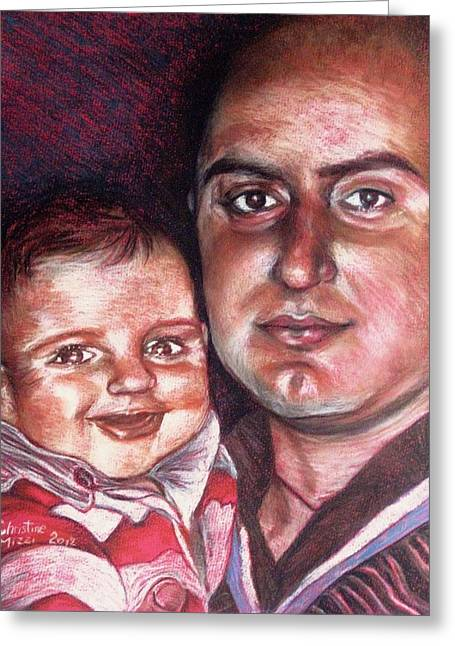 Father Pastels Greeting Cards - Father and Son Greeting Card by Christine Mizzi