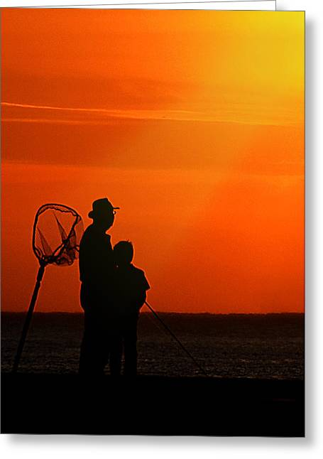 Father And Son Fishing Greeting Card by Maria Dryfhout