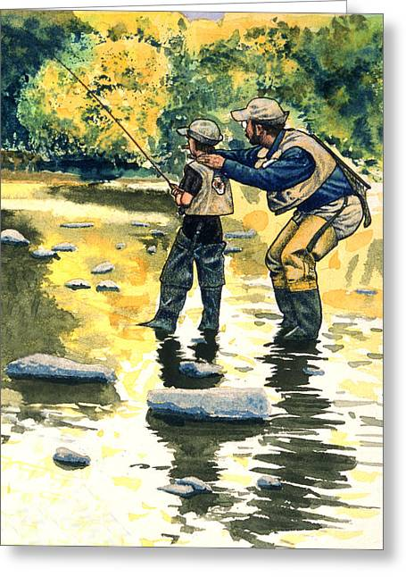 D Wade Greeting Cards - Father and Son Greeting Card by John D Benson