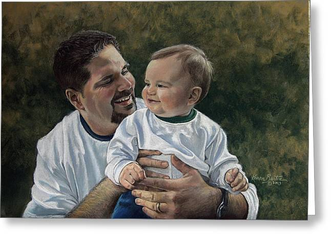 Son Pastels Greeting Cards - Father and Son Greeting Card by Karen Barton
