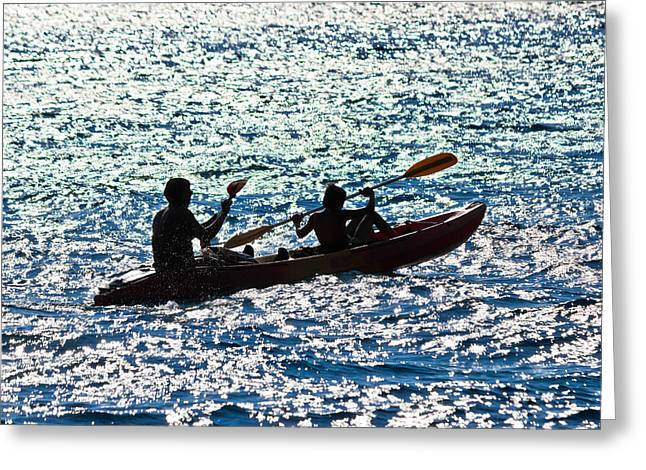 Canoe Photographs Greeting Cards - Father and son kayaking silhouette Greeting Card by Dalibor Brlek