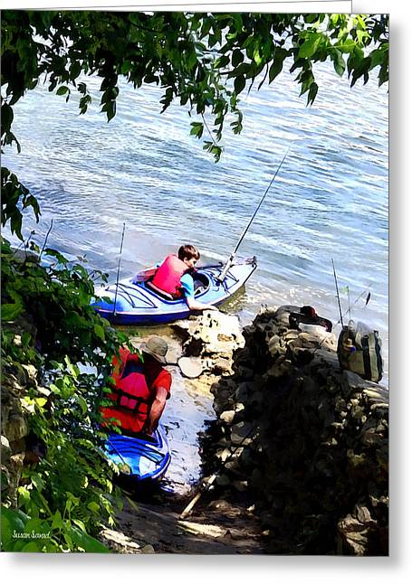 Rivers Greeting Cards - Father and Son Launching Kayaks Greeting Card by Susan Savad
