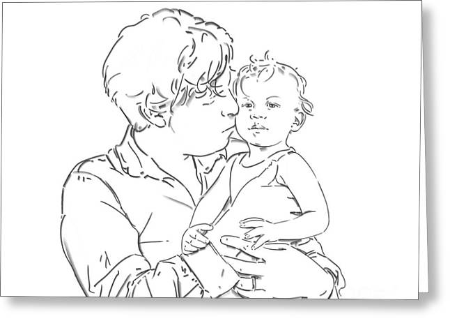 Hand Drawn Greeting Cards - Father and son Greeting Card by Olimpia - Hinamatsuri Barbu
