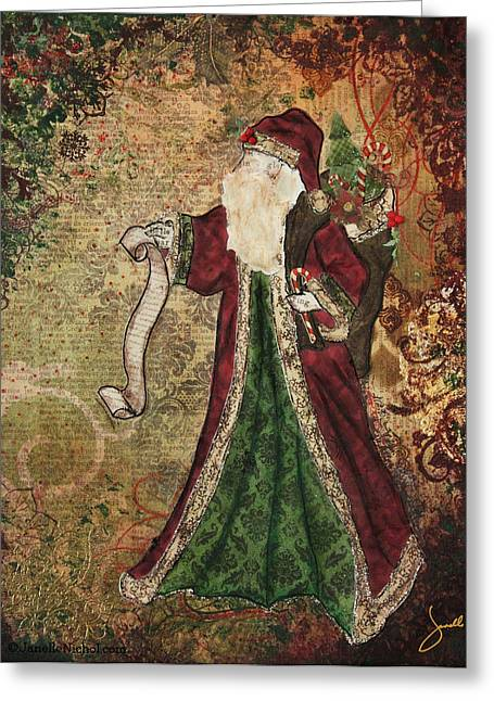 Nicholas Mixed Media Greeting Cards - Father Christmas A Christmas Mixed Media artwork Greeting Card by Janelle Nichol