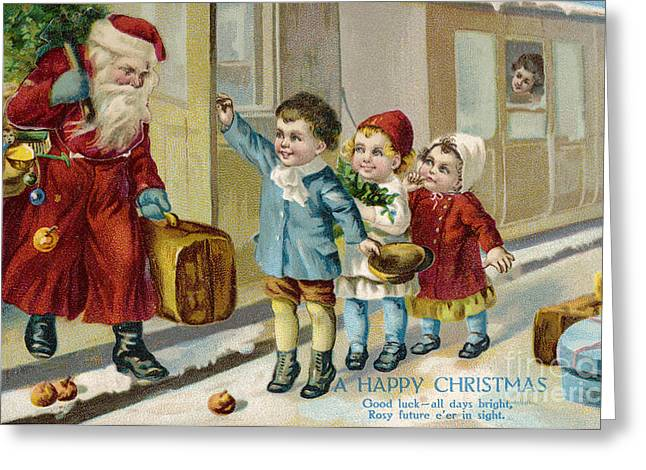 Father Christmas Disembarking Train Greeting Card by Mary Evans