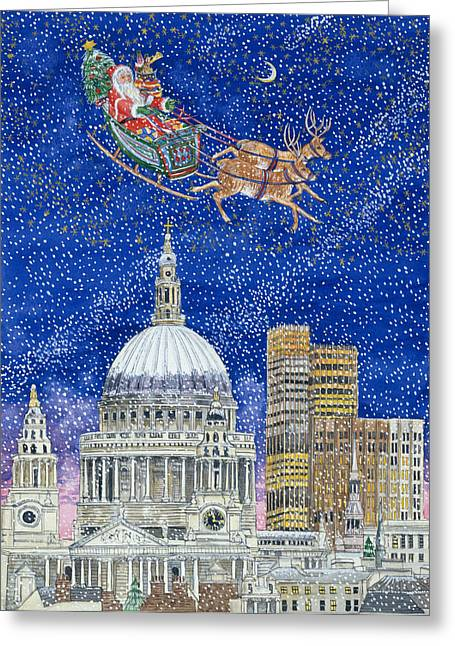 Eve Greeting Cards - Father Christmas Flying over London Greeting Card by Catherine Bradbury