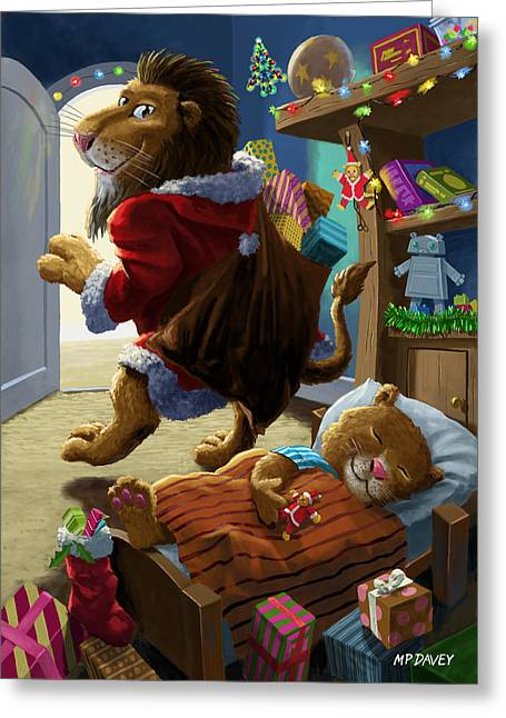 Christmas Eve Greeting Cards - Father Christmas lion delivering presents Greeting Card by Martin Davey