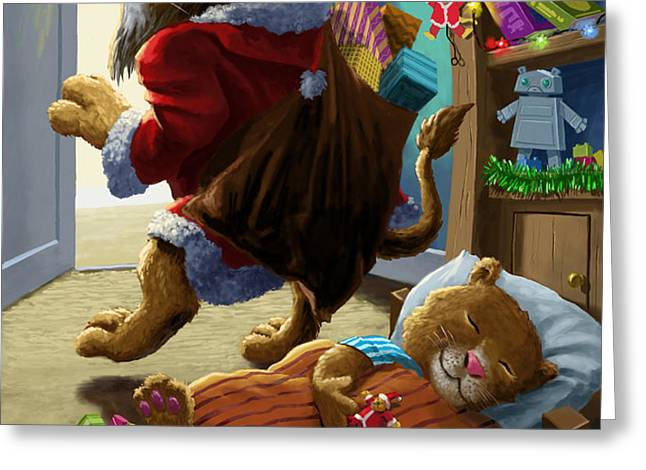 Father Christmas lion delivering presents Greeting Card by Martin Davey