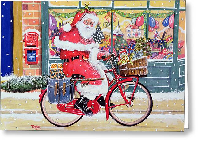 Shop Window Greeting Cards - Father Christmas On A Bicycle Wc Greeting Card by Tony Todd