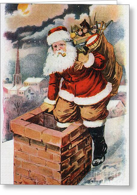 Delivering Presents Greeting Cards - Father Christmas popping down the chimney to deliver gifts to the good.  Greeting Card by R Muirhead Art