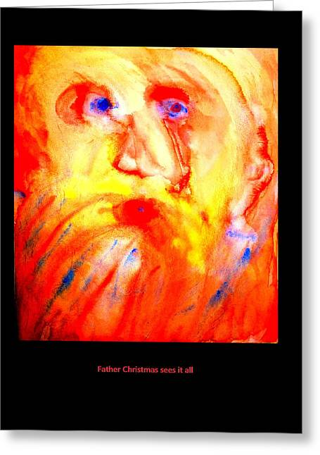 Despair Mixed Media Greeting Cards - Father Christmas sees it all Greeting Card by Hilde Widerberg