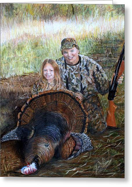 Sized Drawings Greeting Cards - Father Daughter hunter Greeting Card by Charlotte Hastings