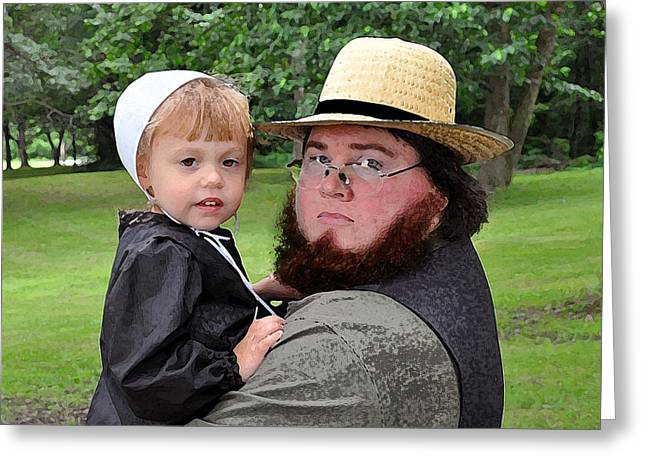 Amish Family Digital Art Greeting Cards - Father Daughter Time Greeting Card by Brian Graybill