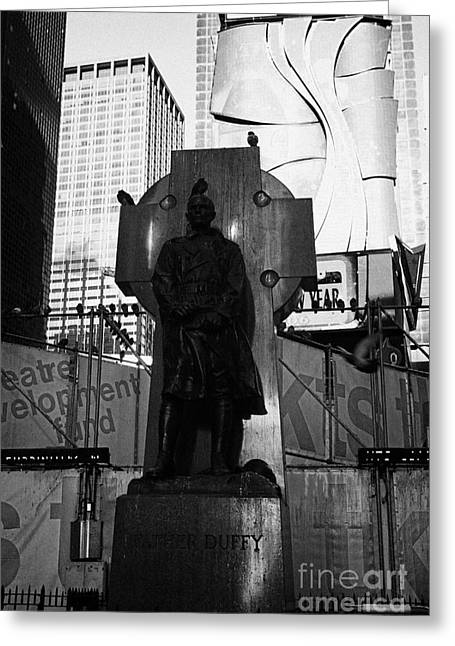 Manhatan Greeting Cards - father duffy soldier priest bronze statue with green granite Celtic cross times square new york city Greeting Card by Joe Fox