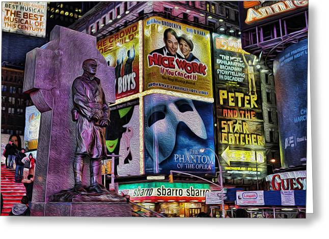 Watching Over Greeting Cards - Father Duffy Watching Over Times Square Greeting Card by Lee Dos Santos