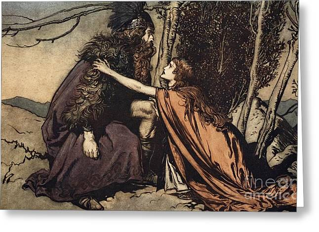 Goddess Print Greeting Cards - Father Father Tell me what ails thee With dismay thou art filling thy child Greeting Card by Arthur Rackham