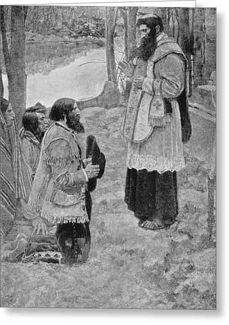 Priests Greeting Cards - Father Hennepin Celebrating Mass, Illustration From La Salle And The Discovery Of The Great West Greeting Card by Howard Pyle