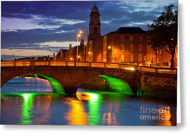 Streetlight Greeting Cards - Father Matthew Bridge Greeting Card by Inge Johnsson