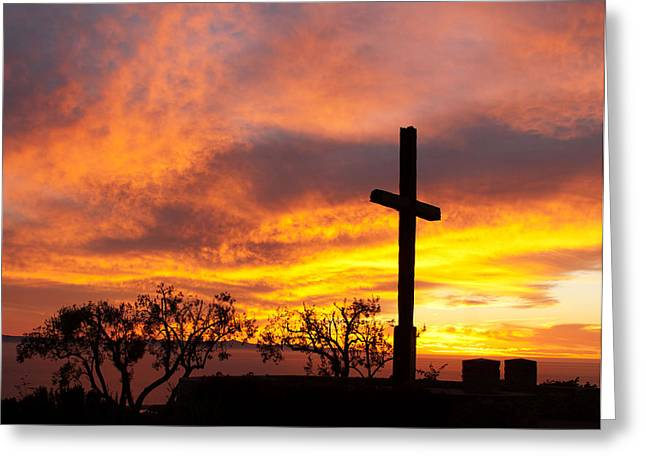 Ventura California Greeting Cards - Father Serra Cross save the burning sky Greeting Card by Sammy Miller