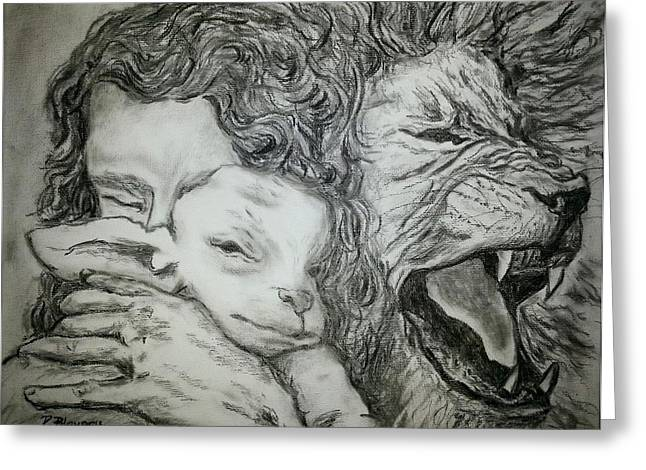 Lion And The Lamb Greeting Cards - Father Spirit Son image 2 Greeting Card by Pamela Blayney