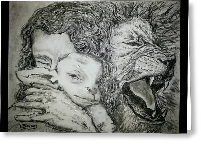 Lion And Lamb Greeting Cards - Father Spirit Son image 2 Greeting Card by Pamela Blayney