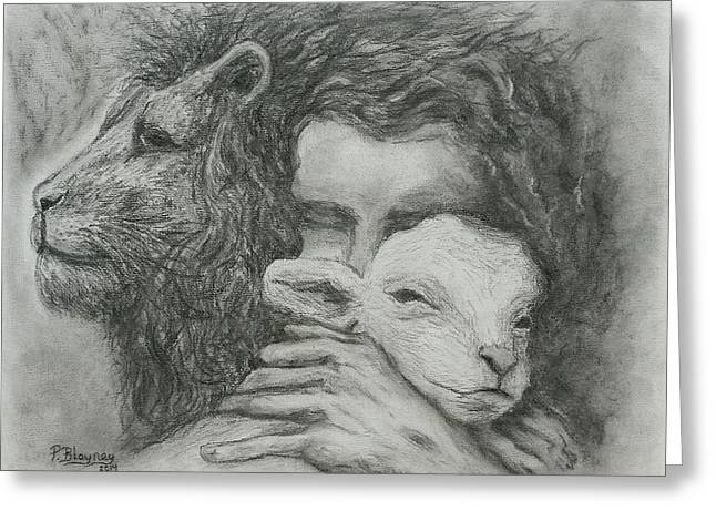 Lion And Lamb Greeting Cards - Father Spirit Son Greeting Card by Pamela Blayney
