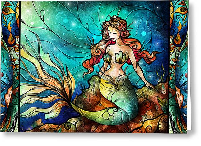 Sea Life Digital Greeting Cards - Fathoms Below Triptych Greeting Card by Mandie Manzano