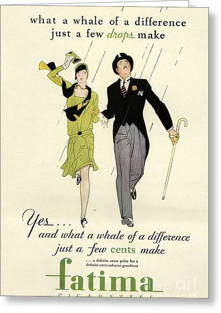 1930Õs Drawings Greeting Cards - Fatima 1930s Usa Cc Raining Couples Greeting Card by The Advertising Archives