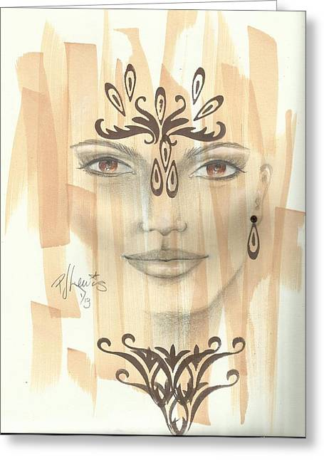 Exotic Women Greeting Cards - Fatima Greeting Card by P J Lewis