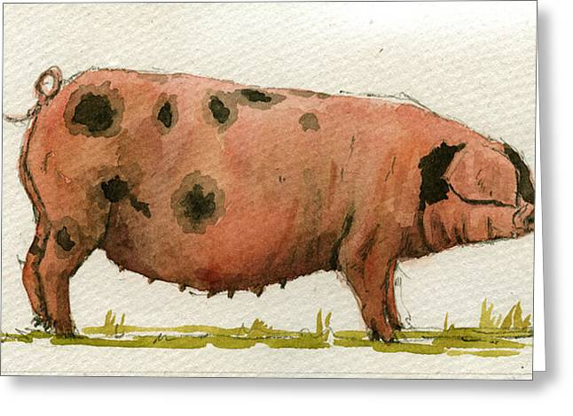 Boars Greeting Cards - Faty sow Greeting Card by Juan  Bosco