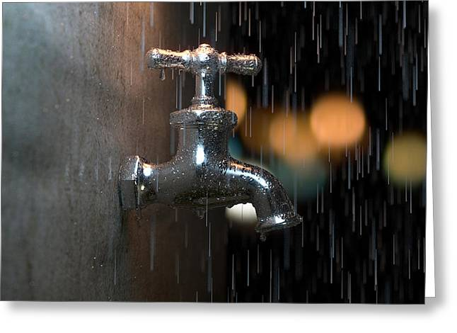 Faucet Greeting Cards - Faucet in the rain Greeting Card by Shachar Har-Shuv