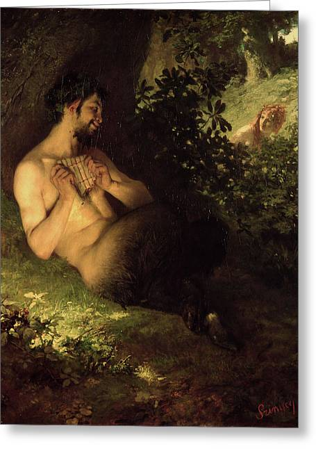 Pan Pipes Greeting Cards - Faun And Nymph, 1868 Oil On Canvas Greeting Card by Pal Szinyei Merse