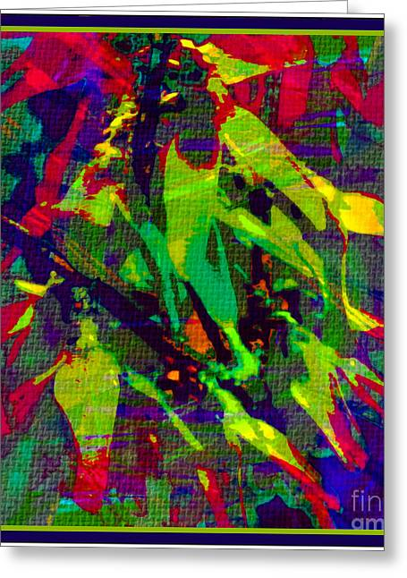 Bright Colors Tapestries - Textiles Greeting Cards - Fauvism Duvet Texture  Greeting Card by Barbara Griffin